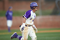 Travis Holt (8) of the High Point Panthers hustles down the first base line against the Campbell Camels at Williard Stadium on March 16, 2019 in  Winston-Salem, North Carolina. The Camels defeated the Panthers 13-8. (Brian Westerholt/Four Seam Images)