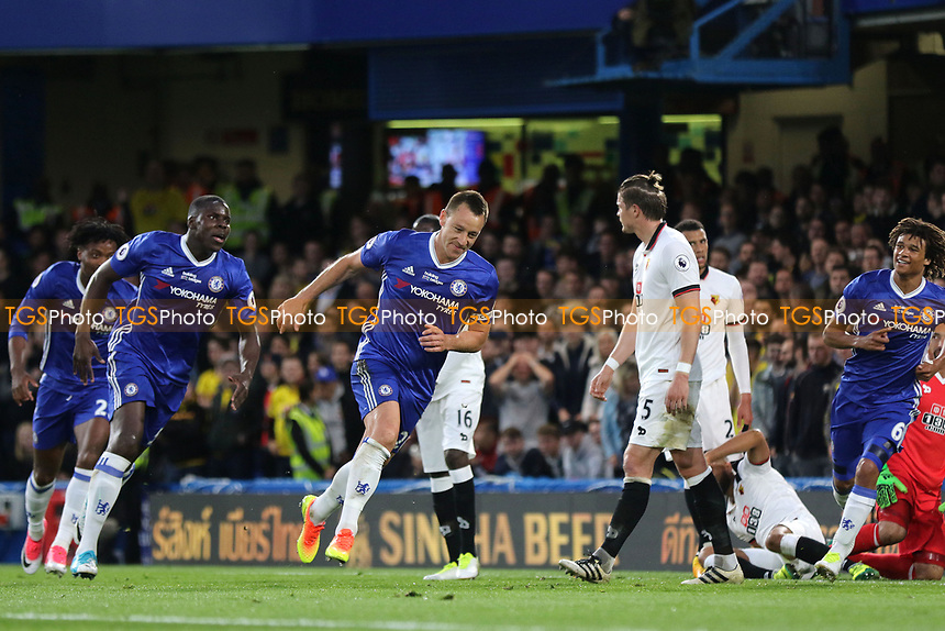 John Terry celebrates scoring Chelsea's opening goal during Chelsea vs Watford, Premier League Football at Stamford Bridge on 15th May 2017