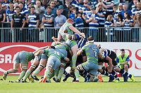 Trevor Davison of Newcastle Falcons is driven up at a scrum. Aviva Premiership match, between Bath Rugby and Newcastle Falcons on September 23, 2017 at the Recreation Ground in Bath, England. Photo by: Patrick Khachfe / Onside Images