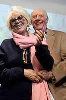 DARIO FO NELLA FOTO DARIO FO CON LA MOGLIE FRANCA RAME SPETTACOLI BRESCIA 07/12/2010 FOTO MATTEO BIATTA<br /> <br /> DARIO FO IN THE PICTURE DARIO FO WITH HIS WIFE FRANCA RAME SHOW BRESCIA 07/12/2010 PHOTO BY MATTEO BIATTA