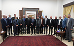 Palestiniain President Mahmoud Abbas meets with heads of Palestinian Chambers of Commerce and Industry, in the West Bank city of Ramallah, January 27, 2019. Photo by Thaer Ganaim