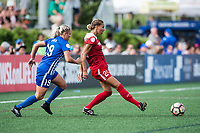 Boston, MA - Saturday July 01, 2017: Adriana Leon and Estelle Johnson during a regular season National Women's Soccer League (NWSL) match between the Boston Breakers and the Washington Spirit at Jordan Field.