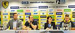 Das podium v.l. Rhein Neckar Loewe Mannschaftsverantwortlicher Oliver Roggisch, Rhein Neckar Loewe Kim Ekdahl Du Rietz (Nr.60), Rhein Neckar Loewe Geschaeftsfuehrerin Jennifer Kettemann und Sprecher Kevin Gerwin bei der Pressekonferenz zu der Praesentation von Rhein Neckar Loewe Kim Ekdahl Du Rietz.<br /> <br /> Foto &copy; PIX-Sportfotos *** Foto ist honorarpflichtig! *** Auf Anfrage in hoeherer Qualitaet/Aufloesung. Belegexemplar erbeten. Veroeffentlichung ausschliesslich fuer journalistisch-publizistische Zwecke. For editorial use only.