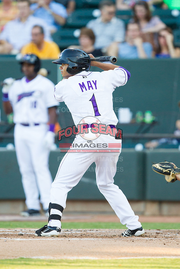 Jacob May (1) of the Winston-Salem Dash at bat against the Carolina Mudcats at BB&T Ballpark on June 6, 2014 in Winston-Salem, North Carolina.  The Mudcats defeated the Dash 3-1.  (Brian Westerholt/Four Seam Images)