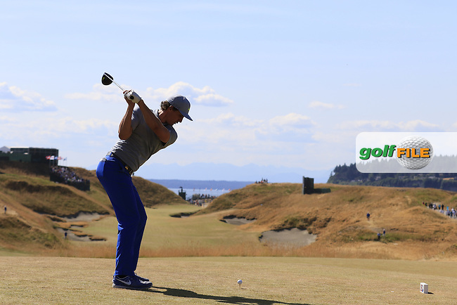 Jamie Lovemark (USA) tees off the 10th tee during Saturday's Round 3 of the 2015 U.S. Open 115th National Championship held at Chambers Bay, Seattle, Washington, USA. 6/21/2015.<br /> Picture: Golffile | Eoin Clarke<br /> <br /> <br /> <br /> <br /> All photo usage must carry mandatory copyright credit (&copy; Golffile | Eoin Clarke)