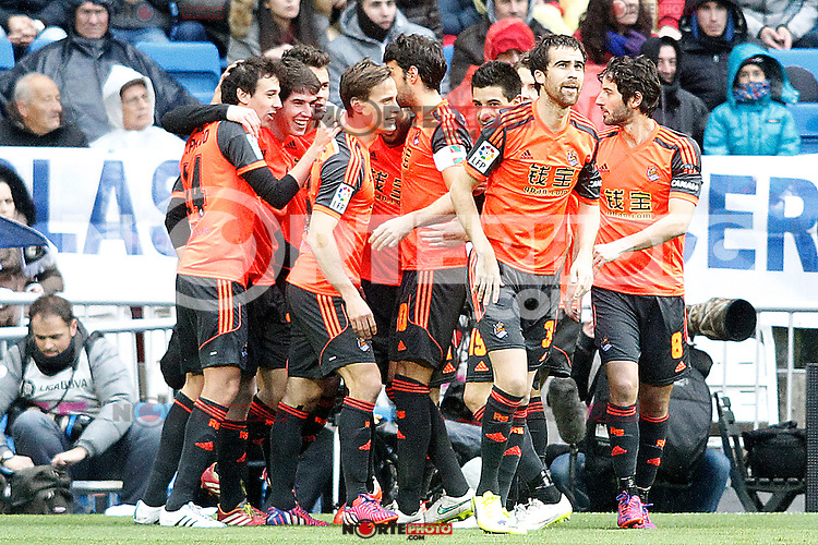 Real Sociedad's players celebrate goal during La Liga match.January 31,2015. (ALTERPHOTOS/Acero) /NortePhoto<br />