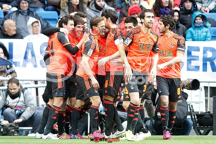 Real Sociedad's players celebrate goal during La Liga match.January 31,2015. (ALTERPHOTOS/Acero) /NortePhoto<br /> /NortePhoto.com