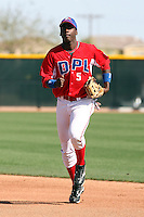 Franmil Reyes #5 of the Dominican Prospect League All-stars plays against the Langley (British Columbia) Blaze in an exhibition game at Surprise Recreational Complex, the Texas Rangers minor league complex, on March 22, 2011 in Surprise, Arizona..Photo by:  Bill Mitchell/Four Seam Images