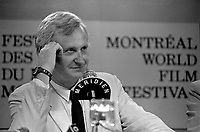 John Boorman, director of Hope and glory speak at a news conference for the (Montreal) World Film Festival on August 21, 1987.<br /> <br /> File Photo : Agence Quebec Presse - Pierre Roussel