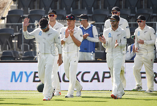 24.02.2016. Christchurch, New Zealand.  New Zealand captain Brendon McCullum leads his team onto the field for the last time on Day 5 of the 2nd test match. New Zealand Black Caps versus Australia. Hagley Oval in Christchurch, New Zealand. Wednesday 24 February 2016.