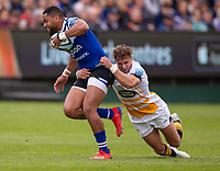 Bath Rugby's Joe Cokanasiga is tackled by Wasps' Josh Bassett<br /> <br /> Photographer Bob Bradford/CameraSport<br /> <br /> Premiership Rugby Cup - Bath Rugby v Wasps - Sunday 5th May 2019 - The Recreation Ground - Bath<br /> <br /> World Copyright © 2018 CameraSport. All rights reserved. 43 Linden Ave. Countesthorpe. Leicester. England. LE8 5PG - Tel: +44 (0) 116 277 4147 - admin@camerasport.com - www.camerasport.com