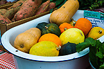Ditmas Park, Brooklyn - December 10, 2016:  Winter squash at the Courtelyou Farmer's Market near Flatbush.  Access to fresh fruits and vegetables is often an issue in low-income communities, but communities like Flatbush are seeing an increase in small farmer's markets, many of which accept food stamps.  Photo Credit:  Diane Bezucha