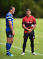 Jamie Roberts of Bath Rugby and Gavin Henson of the Dragons have a chat after training. Bath Rugby pre-season training on August 8, 2018 at Farleigh House in Bath, England. Photo by: Patrick Khachfe / Onside Images