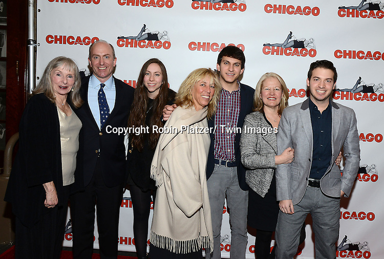"""Group shot attends """"Chicago""""  becoming the 2nd Longest Running Show on Broadway at performance 7486 on November 23, 2014 at the Ambassodor Theatre in New York City."""