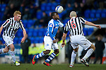 St Johnstone v St Mirren.....23.02.13      SPL.Nigel Hasselbaink is closed down by Jim Goodwin and Conor Newton.Picture by Graeme Hart..Copyright Perthshire Picture Agency.Tel: 01738 623350  Mobile: 07990 594431