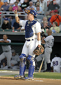 August 9, 2004:  Catcher Curtis Thigpen of the Auburn Doubledays, Short-Season Single-A affiliate of the Toronto Blue Jays, during a game at Falcon Park in Auburn, NY.  Photo by:  Mike Janes/Four Seam Images