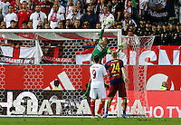 FC Barcelona&acute;s goalkeeper Ter Steger<br />  in action during the Final of Copa del Rey match between FC Barcelona and SevillaFC at the Vicente Calderon Stadium in Madrid, Sunday, May 22, 2016.