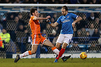 Blackpool's Ben Heneghan competing with Portsmouth's  Brett Pitman<br /> <br /> Photographer Andrew Kearns/CameraSport<br /> <br /> The EFL Sky Bet League One - Portsmouth v Blackpool - Saturday 12th January 2019 - Fratton Park - Portsmouth<br /> <br /> World Copyright &copy; 2019 CameraSport. All rights reserved. 43 Linden Ave. Countesthorpe. Leicester. England. LE8 5PG - Tel: +44 (0) 116 277 4147 - admin@camerasport.com - www.camerasport.com