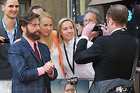 NON EXCLUSIVE PICTURE: PAUL TREADWAY / MATRIXPICTURES.CO.UK.PLEASE CREDIT ALL USES..WORLD RIGHTS..American actor Zach Galifianakis attending the European premiere of The Hangover Part 3, at the Empire Cinema in Leicester Square, London...MAY 22nd 2013..REF: PTY 133458