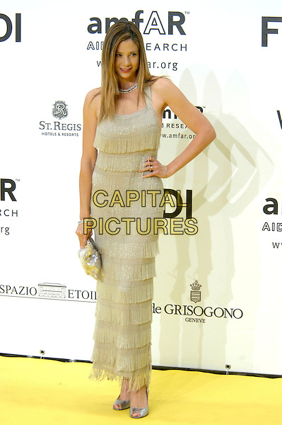 MIRA SORVINO.Inauguration for the amfARr's Cinema Against AIDS during the 2nd Annual Rome Film Festival, Rome, Italy, .26 October 2007..full length grey silver fringed dress hand on hip.CAP/CAV.©Luca Cavallari/Capital Pictures.