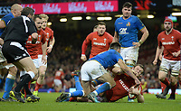 Wales Hadleigh Parkes scores his sides fourth try but the referee disallows it<br /> <br /> Photographer Ian Cook/CameraSport<br /> <br /> 2018 NatWest Six Nations Championship - Wales v Italy - Sunday 11th March 2018 - Principality Stadium - Cardiff<br /> <br /> World Copyright &copy; 2018 CameraSport. All rights reserved. 43 Linden Ave. Countesthorpe. Leicester. England. LE8 5PG - Tel: +44 (0) 116 277 4147 - admin@camerasport.com - www.camerasport.com