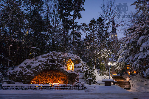 Grotto in winter with the Basilica spire in the background. <br /> <br /> Photo by Matt Cashore/University of Notre Dame