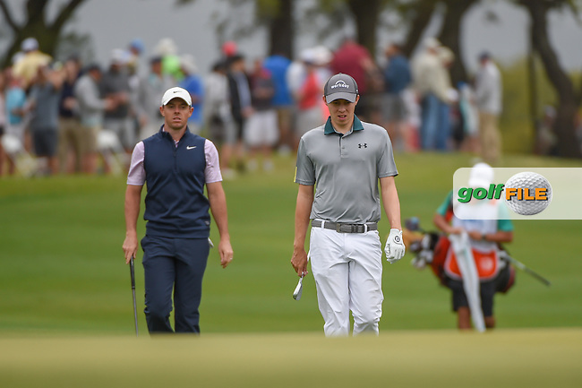 Rory McIlroy (NIR) and Matt Fitzpatrick (ENG) approach the green on 1 during day 3 of the WGC Dell Match Play, at the Austin Country Club, Austin, Texas, USA. 3/29/2019.<br /> Picture: Golffile | Ken Murray<br /> <br /> <br /> All photo usage must carry mandatory copyright credit (© Golffile | Ken Murray)