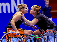 Rotterdam, Netherlands, December 16, 2017, Topsportcentrum, Ned. Loterij NK Tennis, Wheelchair final: Aniek van Koot (NED) and Michaela Spaanstra (NED)<br /> Photo: Tennisimages/Henk Koster
