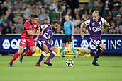 November 4th 2017, nib Stadium, Perth, Australia; A-League football, Perth Glory versus Adelaide United; Diego Castro of the Perth Glory controls the ball under pressure from Nathan Konstandopoulos from Adelaide United