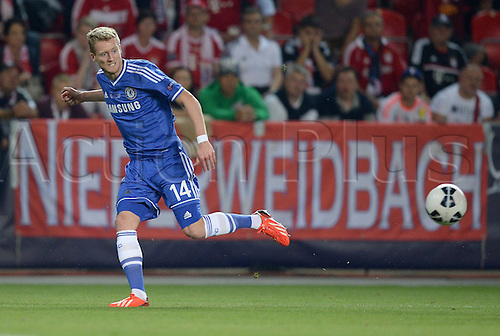 30.08.2013. Prague, Czech Republic.   UEFA Supercup 2013 FC Bayern Munich versus Chelsea. Andrea Schurrle  FC Chelsea sets up the goal for 0 1.