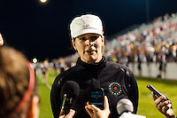Portland Thorns head coach Cindy Parlow Cone addresses the media after the match. Sky Blue FC and the Portland Thorns played to a 0-0 tie during a National Women's Soccer League (NWSL) match at Yurcak Field in Piscataway, NJ, on June 22, 2013.