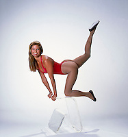 Christie Brinkley in exercise pose, Studio shoot, Los Angeles, 1982. Photo by John G. Zimmerman.