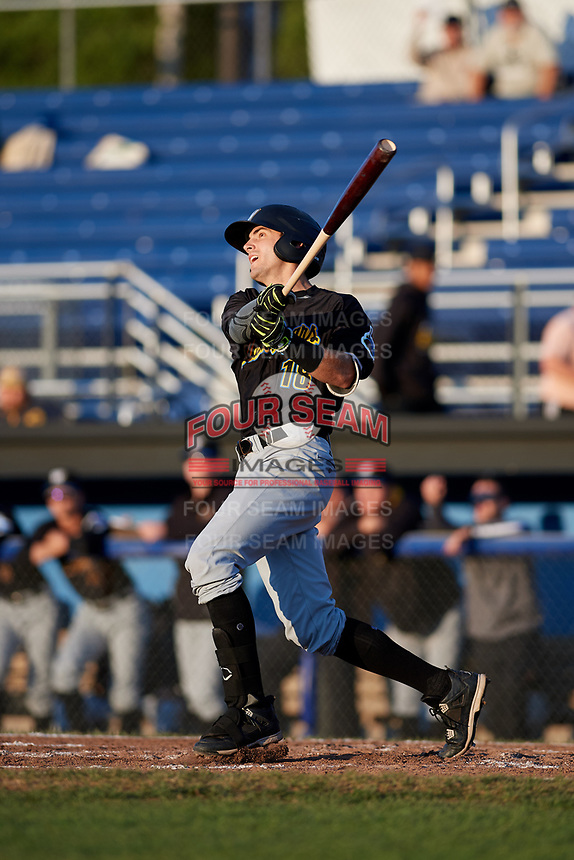 West Virginia Black Bears third baseman Dylan Busby (18) flies out during a game against the Batavia Muckdogs on August 5, 2017 at Dwyer Stadium in Batavia, New York.  Batavia defeated Williamsport 3-2.  (Mike Janes/Four Seam Images)