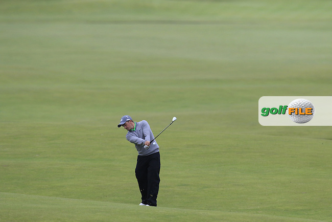 Paul DUNNE (AM)(IRL) plays his 2nd shot on the 18th hole during Monday's Final Round of the 144th Open Championship, St Andrews Old Course, St Andrews, Fife, Scotland. 20/07/2015.<br /> Picture Eoin Clarke, www.golffile.ie