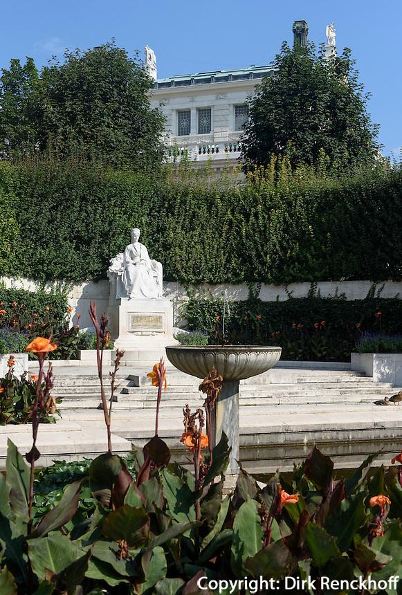 Burgtheater und Sisi-Denkmal im Volksgarten in Wien, &Ouml;sterreich, UNESCO-Weltkulturerbe<br /> Burgtheater and Sisi-Monumen in Volksgarten, Vienna, Austria, world heritage