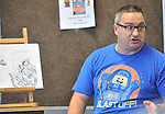 Children's author Oisin McCann pictured  at the Rolling Sun Festival event at Westport Library on saturday last in Westport <br /> Pic Conor McKeown.