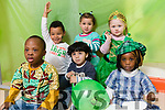 Children getting ready for Saint Patrick's Day at Shanakill FRC  Front from left: Destiny Ogie, Nigeria, Samir Ghumied, Syria/Palastine and Naomi Browne, Cameroon/Nigeria<br /> Back AJ Matumula, Irish/Malawi, Nardin Solmon, Egyptian and Faith Connolly Breen, Irish.