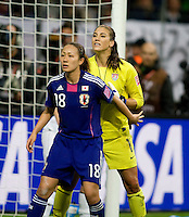 Hope Solo, Karina Maruyama.  Japan won the FIFA Women's World Cup on penalty kicks after tying the United States, 2-2, in extra time at FIFA Women's World Cup Stadium in Frankfurt Germany.