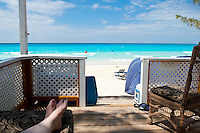 Relaxing ocean view from beach cabana in the Bahamas.