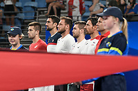 8th January 2020; Sydney Olympic Park Tennis Centre, Sydney, New South Wales, Australia; ATP Cup Australia, Sydney, Day 6; Croatia versus Argentina; Marin Cilic of Croatia versus Guido Pella of Argentina; Team Croatia line up for the national anthems before play - Editorial Use