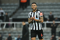 Jamaal Lascelles of Newcastle United applauds fans at the final whistle during Newcastle United vs Southampton, Premier League Football at St. James' Park on 10th March 2018