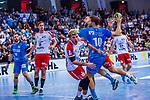 KRAUS, Michael (#10 TVB 1898 Stuttgart) \DURAK, Pascal (#23 DIE EULEN LUDWIGSHAFEN) \STUEBER, Frederic (#2 DIE EULEN LUDWIGSHAFEN) \ beim Spiel in der Handball Bundesliga, TVB 1898 Stuttgart - Die Eulen Ludwigshafen.<br /> <br /> Foto &copy; PIX-Sportfotos *** Foto ist honorarpflichtig! *** Auf Anfrage in hoeherer Qualitaet/Aufloesung. Belegexemplar erbeten. Veroeffentlichung ausschliesslich fuer journalistisch-publizistische Zwecke. For editorial use only.