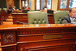 Illinois Speaker of the House Michael Madigan's empty chair on the floor of the Illinois House of Representatives during the closing marathon legislative sessions, expected to end Sunday, that marks the end of the legislative year in Springfield, Illinois on May 27, 2009.  Madigan was in closed door meetings and unavailable for photographs.