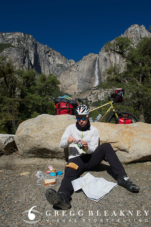 A perfect Fall day in Yosemite, but gMack definitely not looking forward to ANOTHER PBJ Sando - Adventure Cycling Sierra Cascades Route - Canada to Mexico Cycling Expedition