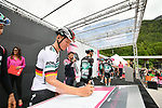 German Champion Pascal Ackermann (GER) and Bora-Hansgrohe at sign on before Stage 17 of the 2019 Giro d'Italia, running 181km from Commezzadura (Val di Sole) to Anterselva / Antholz, Italy. 29th May 2019<br /> Picture: Massimo Paolone/LaPresse | Cyclefile<br /> <br /> All photos usage must carry mandatory copyright credit (© Cyclefile | Massimo Paolone/LaPresse)