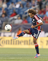 New England Revolution defender Kevin Alston (30) volley pass. In a Major League Soccer (MLS) match, the New England Revolution tied the Columbus Crew, 0-0, at Gillette Stadium on June 16, 2012.