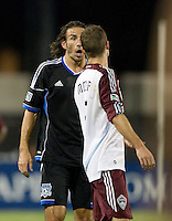 Alan Gordon of Earthquakes argues with Drew Moor of Rapids during the game at Buck Shaw Stadium in Santa Clara, California on August 25th, 2012.   San Jose Earthquakes defeated Colorado Rapids, 4-1.