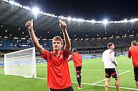 FUSSBALL WM 2014                HALBFINALE Brasilien - Deutschland          08.07.2014 Thomas Mueller (Deutschland) jubelt nach dem Abpfiff