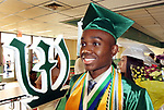 WATERBURY CT. 21 June 2017-062117SV09-Vod Vilfort, 17, valedictorian, leads fellow graduates into their ceremony during the Wilby High Graduation in Waterbury Wednesday. <br /> Steven Valenti Republican-American