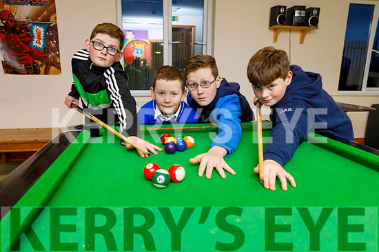 Patrick, Danny, Michael and Christy Burke enjoying a game of pool at the Youth Club inShanakill Family Resource Centre on Thursday.